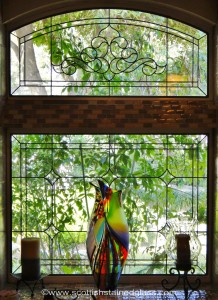 Houston Stained Glass Kitchen With Leaded Glass Panes.