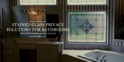 privacy bathroom stained glass houston